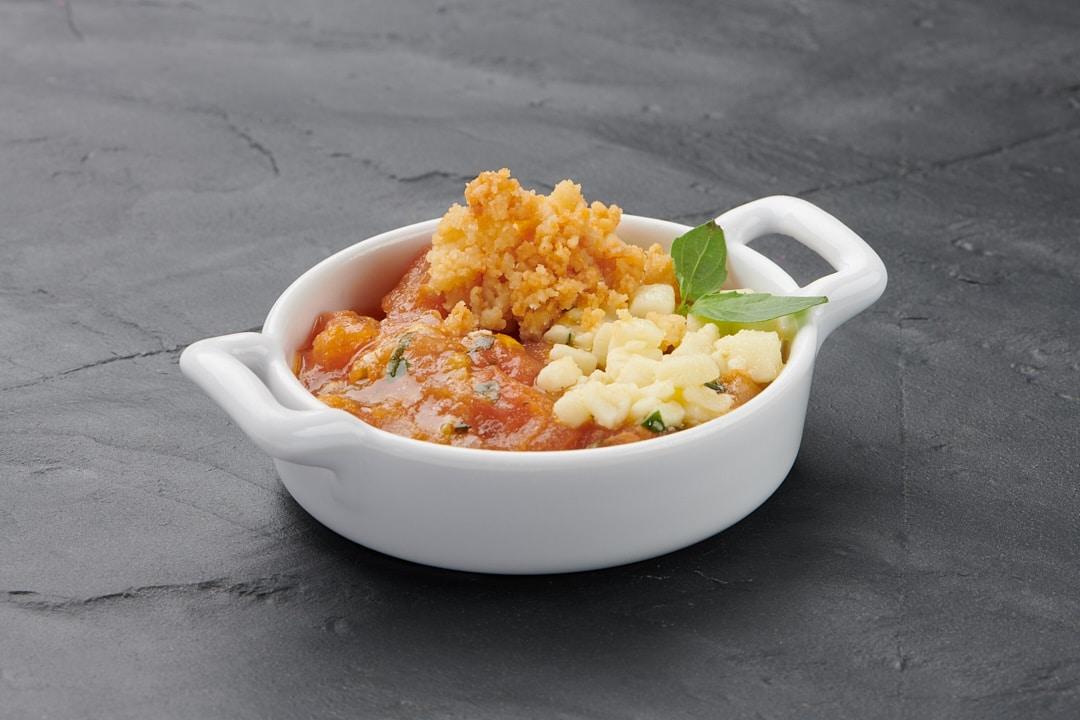 Mises en bouche & plats : Crumble tomates mozzarella